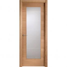 Puerta roble acristalada